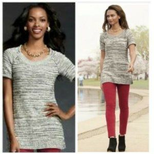 CAbi Carol Anderson Gray Knit Short Sleeve Sweater Tunic Top